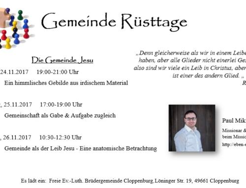 Einladung Gemeinde Rüsttage in Cloppenburg