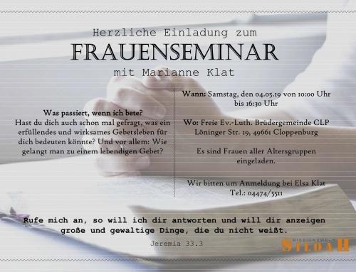 Frauenseminar in Cloppenburg (Einladung)